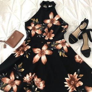 Black with Brown and Orange Flowers Skater Dress